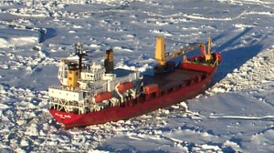 Ship stuck in the Antarctic pack ice