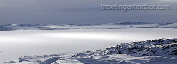 antarctica coast in winter with sea ice covering bay