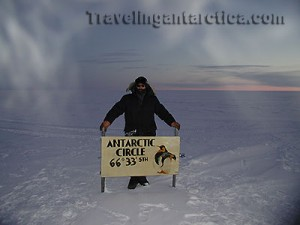 The Antarctic Circle 66 deg 33 min Lattitude South of the Equator